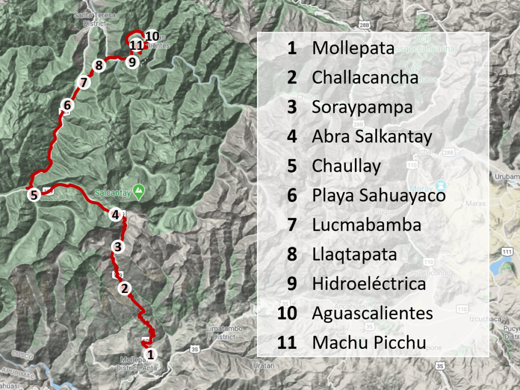 Map for the Salkantay Trek without a guide